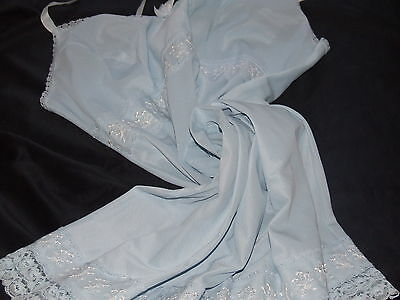 Vintage M&s Petticoat Sweet&pretty In Pale Blue Lace&embroidery Feminine&cool