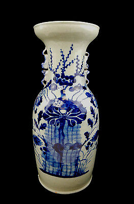 Large Chinese Blue White Celadon Porcelain Vase ~ Floral Motif ~ Foo Handle 17""