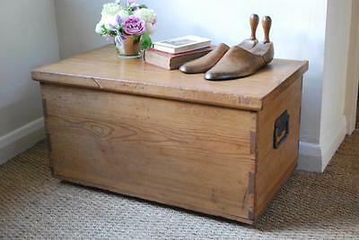 vintage stripped pine box chest trunk coffee table