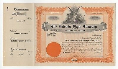 The Baldwin Piano Company Stock Certificate - unissued