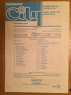 Manchester City Youth v Burnley Youth (Lancs Youth Cup) 1979/80 Programme