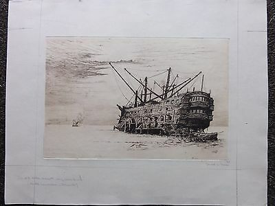 Gerald Stanley Davies - Signed Etching - Galleon - Seascape - Portsmouth