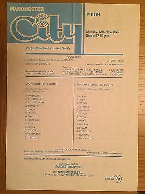 Manchester City Youth v Man Utd Youth (Lancs Youth Cup) 1979/80 Programme