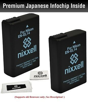 NX-ENEL14K2 WT Nixxell Battery (2pack) for Nikon D3200, D5100, D5200,