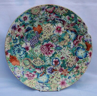 18THC CHINESE Qianlong (Ch'ien Lung) PORCELAIN FAMILLE ROSE PLATE PAINTE FLOWERS