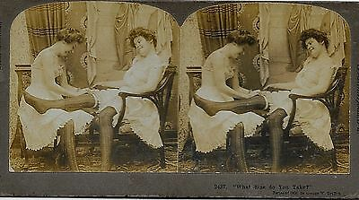 Risque 2 Semi-dressed ladies measure garter size far up her Leg Sexy Stereoview