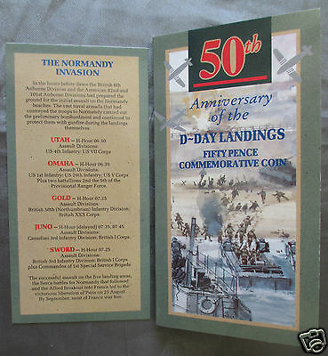 50TH ANNIVERSARY OF THE D-DAY LANDINGS FIFTY PENCE COMMEMORATIVE COIN COVER 50p