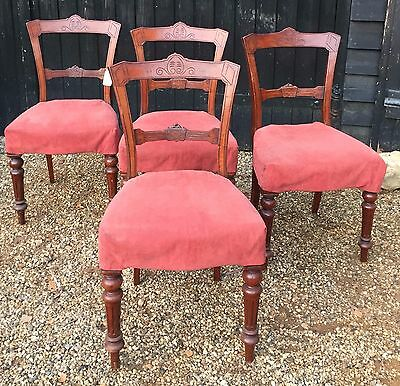 Set Of Four Edwardian Dining Chairs With Removable Covers