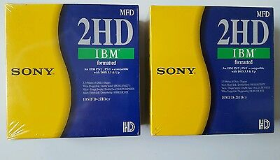 Sony IBM Formatted 2HD Micro Floppy Discs 10 Pack x2 New 10MFD-2HDcf