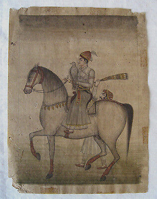 Indian Miniature Painting ( Mughal ?)  /  Prince, Horse, Falcon  / 18th-19th C.