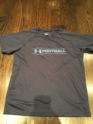 Under Armour Youth Large Football Shirt Navy Heat Gear