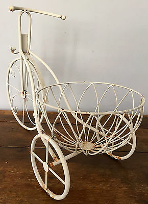 Vintage Wrought Iron White Metal Coated Tricycle Garden Flower Pot Plant Stand