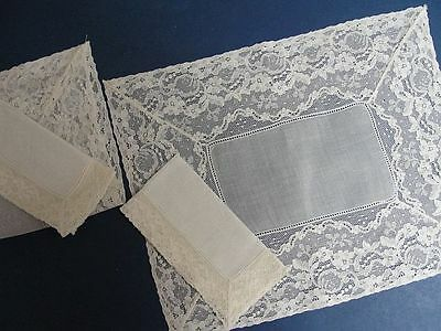 SET OF 2 WHITE LACE EDGE / ORGANDY PLACEMATS  BEDTRAY SIZE 11 x 14 + NAPKINS