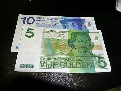 Netherland Guilder 0ld 10 and 5 banknotes