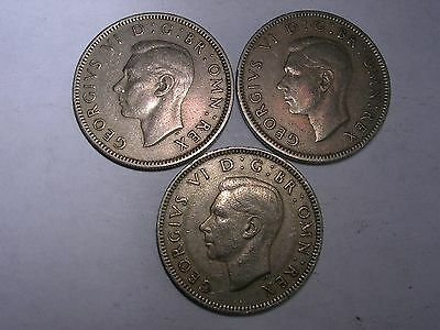 3 King George VI English shillings dated 1948