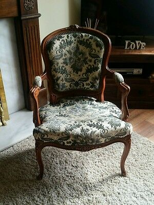 French Craved Upholstered Easy Chair Antique. Bedroom Chair. Arm Chair.