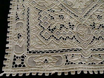 MAGNIF 17pc White GREAT WALL Linen Placemats Napkins Runner Cutwork PRISTINE Vtg
