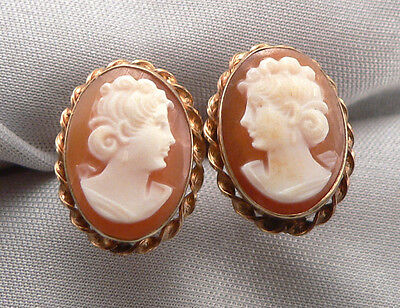 Vintage VANDELL Van Dell Gold Filled Hand Carved Shell CAMEO Screwback EARRINGS