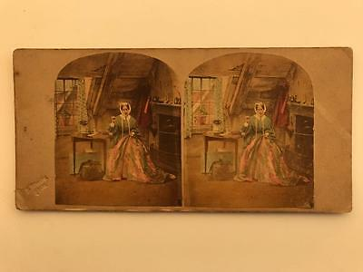 Early Stereoview 1850s Tinted The Semptress by Silvester
