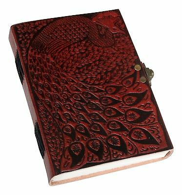 Peacock Embossed Genuine Leather Journal Diary (Handmade) with SIDE LOCK