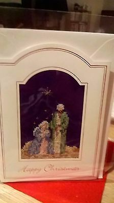 Large Completed cross stitch Christmas Card (1)