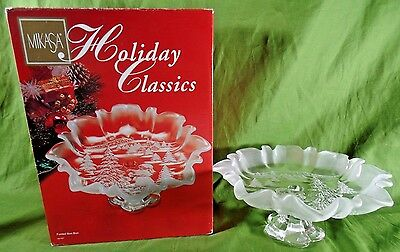 """Mikasa Christmas Story Footed Crystal Dish 9 1/2"""" Frosted Glass Holiday Classic"""