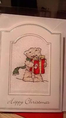 Large Completed cross stitch Christmas Card (2)
