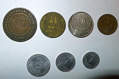 7 middle east coins, Tunisia, Algeria dates from 1941 - 1964