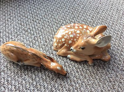 Lomonosov Russian Porcelain Animal Figure Young Doe (Deer) Lying and Mother USSR