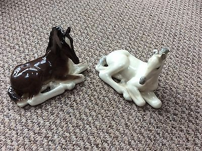 Pair Of Lomonosov Russian/ussr White And Brown Laying Down Horses
