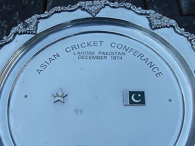 Pakistan 1974 Cricket Presentation Dish - Silver Plated