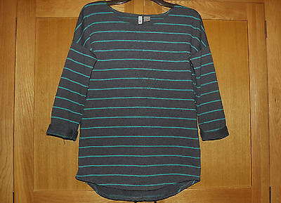 Ladies H&M blue striped 3/4 sleeve top size S (10 - 12)