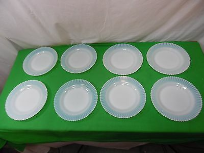 Set of 8 Vintage White Opalescent Translucent Plates Scalloped Ribbon Edge