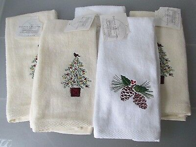 DONNER & BLITZEN Lot of 5 Christmas Appliqued Fingertip Guest Towels NEW NWT