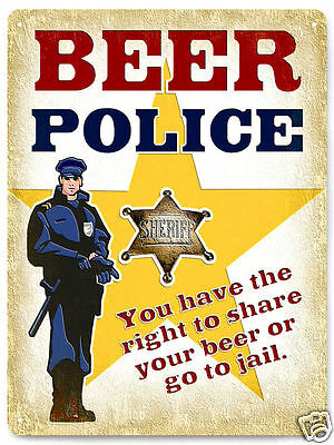 MANCAVE BEER POLICE metal sign funny gag vintage style great gift wall decor 391