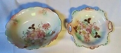 2 Vintage Schumann Arzberg Germany Briar Rose Scalloped Serving Pieces