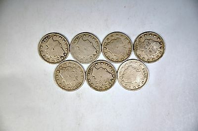 7 Different Dates Liberty Nickels G-VG Lot  K591