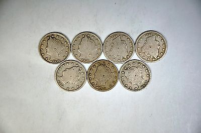 7 Different Dates Liberty Nickels G-VG Lot  K592