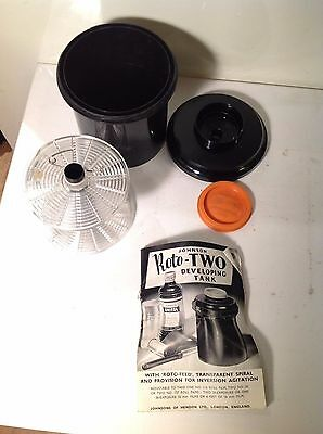 Vintage Johnson Roto-Two Developing Tank, 35mm 127 120 116 films, instructions