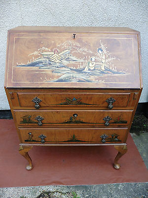Antique Vintage Chinoiserie Writing Bureau, Desk, 3 Long Drawers Working Key