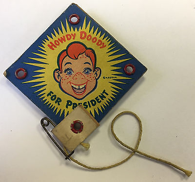 1940s VOTE HOWDY DOODY for PRESIDENT PIN/BALL DEXTERITY GAME POLL-PARROT PINBACK
