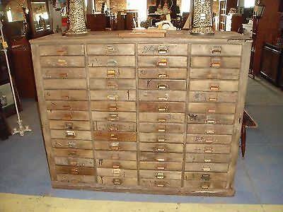 Antique Apothecary Recipe File Library Card Wooden Cabinet 56 Drawer Industrial