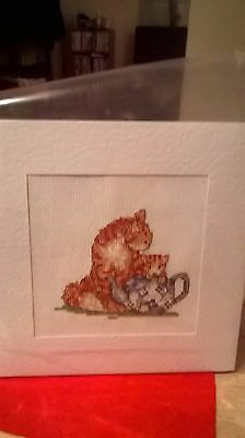 Extra Large Completed cross stitch  Card Cat & Kitten