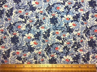 Vintage Cotton Feedsack Fabric PRETTY Blue & Red Daisies Floral EXC