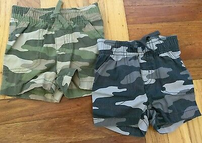Camouflage shorts, 2 pair, 0-3 months