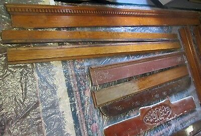ANTIQUE VICTORIAN OAK 9 ft DENTIL MOLDING PLUS 6 MANTEL BACK SPLASHES + TRIM