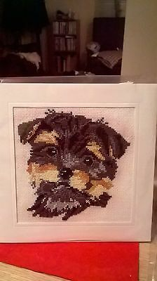 Extra Large Completed cross stitch  Card of Yorkshire Terrier