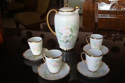Louise Bavaria Hand Painted Chocolate / Coffee Set, Pot + 4 Cups, Pink Flowers