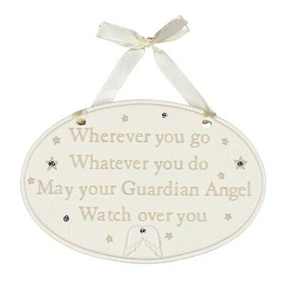 """New Baby Christening Gift Hanging Plaque Crystals """"Guardian Angel"""" by Juliana"""