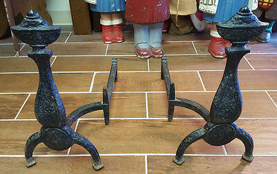 Antique Andirons Mission Arts and Craft Design Bradley Hubbard Signed Fire Dogs